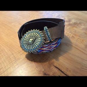 "Leatherock beaded leather belt 38"""